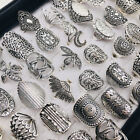 Wholesale 20pcs/lot Vintage Carved Flower Silver Plated Jewelry Rings For Women