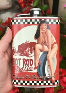 Flask / Flasks / 21st Birthday Gifts / Bettie Page Hot Rod Flask / Unique Gifts