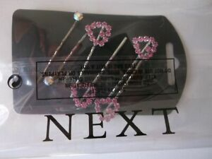 6 Bobby Pins Heart Crystal 7cm Diamonte Kirby Slide Grips Clip Wedding Hair CZ