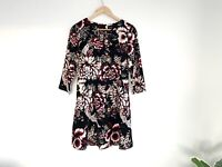 Nicole Miller New York Size 10 AU Floral Crane Print Design Tropical 3/4 Sleeve