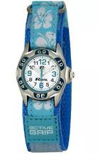 Ravel Hibiscus Velcro Strap Girls Analogue Wrist Watch R1507 Baby Blue