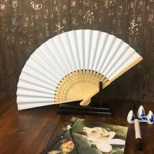 50pzs /lote Blanco Abanico de mano papel elegante plegable Favores del banq N2H1