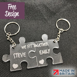 PERSONALISED LASER CUT & ENGRAVED KEYRING KEYCHAIN * Valentines Day Gift *