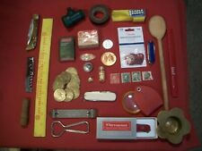 Junk Drawer Estate Lot of 39 Items, Gold, Coins, Knives, Household,Stamps,Tokins