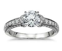 1.73c Brilliant Cut Beautiful Diamond Engagement Ring Real 14K Solid White Gold
