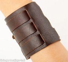 Cuir Véritable Marron Bracelet Poignet 3 Couche Bracelet Bracelet Bracelet Band A54