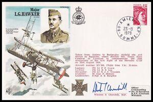 WINSTON S. CHURCHILL MP Signed Major L.G. Hawker VC DSO RAF Cover