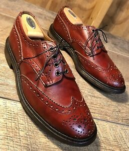 Men's TRICKERS 'Bourton' Burgundy Wing Tip Brogue Oxfords Size UK 9 US 10