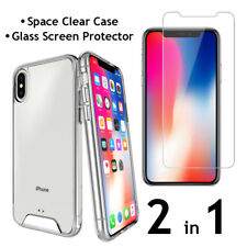 iPhone X Clear Hybrid Case and Glass Screen Protector Air Cushion Tech 2 in 1