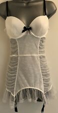 Victoria's Secret White Bridal Merry Widow Underwired Shapewear Suspenders 36B