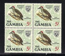 GAMBIA MNH 1963 BIRD ISSUE (5/-) IN BLOCK OF 4