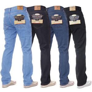 Mens Basic Jeans Casual Work Heavy duty Straight Leg Regular Fit Denim All Waist