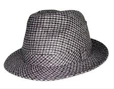 Men's Wool Blend Houndstooth Fedora Safari Tino Trilby fitted hat cap