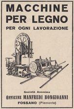 Z3526 Macchine per legno Manfredi Bongioanni - Fossano - Pubblicità - 1929 ad