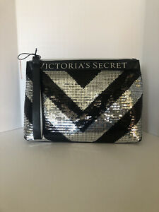 Victoria;s Secret Sequined Cosmetic Bag Black and Silver Brand New with Tag