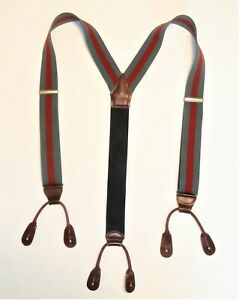 Vtg Suspenders Gray Brown Leather Tab Silk Red Stripe Button On Braces USA