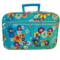 Vintage Turquoise Floral Carry-On Suitcase Hippie Mod MCM Canvas Made in Japan