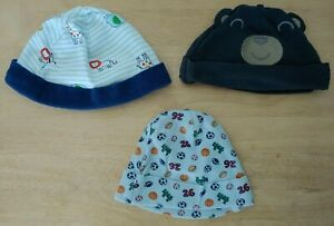 3 Carter's hats 3 months. Football/sports, Bear w/ ears, striped w/ zoo animals