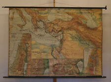School Wall Map biblarian countries 210x151cm 1953 Old New testamento VINTAGE MAP