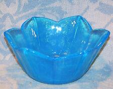 Vintage Stunning Iridescent Blue Glass Bowl With Sand-Blasted Mark On Base