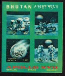 BHUTAN - 1973 Space Flight of Apollo 17       minisheet    -  no.2227