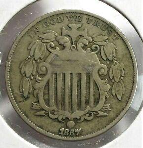 1867 USA Shield Nickel VF Condition  (097)