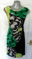 DEBENHAMS Size 10 Black Green Floral Stretchy Wiggle Dress Ties at Side Lined