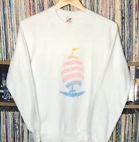 Vintage 80s Sailing Jerzees Sweater Size Medium Made in USA Crew Neck White