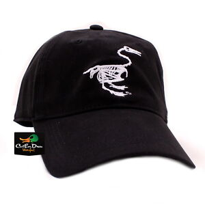NEW BANDED GEAR FITTED STRETCH-FIT CAP HAT BLACK WITH DUCK SKELETON LOGO