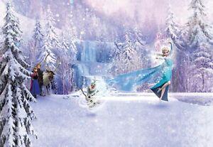 368x254cm Girls room blue decor Wall mural Wallpaper Disney Frozen Elsa & Anna