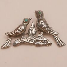 "VINTAGE 1940'S EARLY MEXICAN STERLING SILVER TURQUOISE BIRD 2.25"" BROOCH PIN"