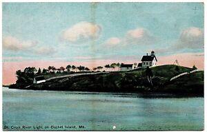 St. Croix River Light on Dochet Island Maine Postcard H.C. Leighton Germany