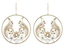 Zest Swarovski Crystal Flower Disk Earrings for Pierced Ears Golden