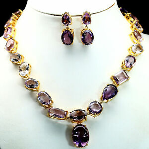 NATURAL SET VVS PINK WITH PURPLE AMETHYST NECKLACE & EARRIGNS 925 SILVER