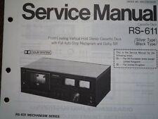 PANASONIC RS-611 RS-631 Cassette Deck Service manual wiring parts diagram