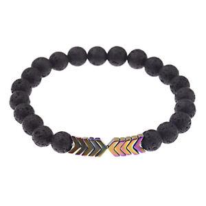 Lava Stone Bracelets Essential Oil Diffuser Hematite Arrows Magnetic Bracelet
