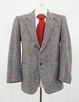Harris Tweed Sakko Gr.48 grau Fischgrät Einreiher 2-Knopf Wolle -C224
