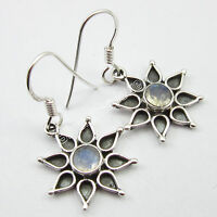 "Beautiful STAR FLOWER Earrings 1.3"", 925 Pure Silver RAINBOW MOONSTONE Jewelry"
