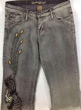 Funhouse Vintage Womens Jeans Size 9 Gray with Decoration