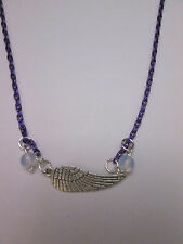Angel wing moonstone purple necklace, wicca pagan protection positive energy.