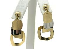 """Italian 14k Tri Color Gold Square Drop Dangle Earrings 1.5"""" 4.9 grams"""