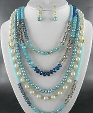 Five Layers Multi Blue Glass Faceted Bead And Faux Pearl Long Necklace Earring