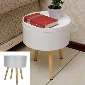 Contemporary Retro Round Modern Lamp Coffee End Side Bedside Storage Table