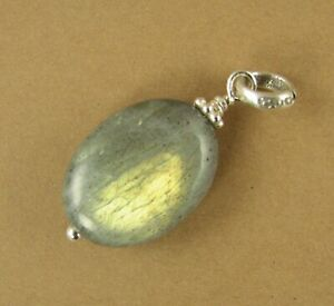 Labradorite stone pendant. Blue green with bright fire. Sterling silver 925.