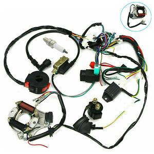 Electric Wiring Harness Wire Loom CDI Stator Kit for 50cc 110cc 125cc ATV QUAD