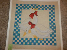 Handpainted Needlepoint Canvas Large Christmas Geese 13M NEW