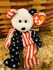 """NWT RARE Retired 1999 Ty """"Spangle"""" Beanie Baby Patriotic Bear With Errors"""