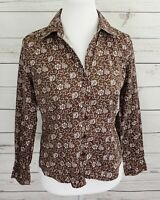 Kim Rogers Top Womens Small S Brown Floral Button Collared Long Sleeve Cotton