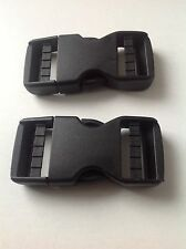 Black No Sew Plastic Dual Adjust Side Release Buckle 20mm, 25mm, 38mm and 50mm