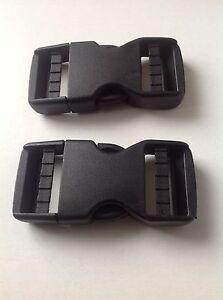 Black No Sew Plastic Dual Adjust Side Release Buckle 20mm 25mm 30mm 38mm 50mm